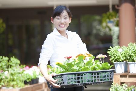 Female flower shop clerk Stok Fotoğraf