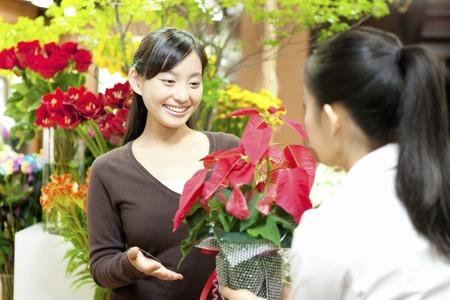 the clerk: Empleado mujer para pasar la flor de pascua