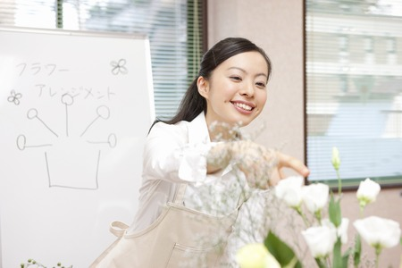 Flower arrangements classroom Stock Photo