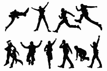 hurray: Businessman jump silhouette