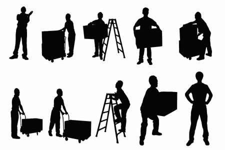 laborer: Shipping silhouette Stock Photo