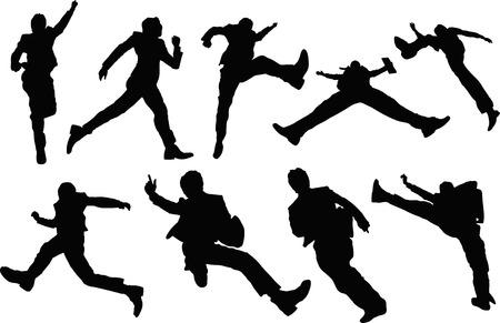 Geschäftsmann springen Silhouette Standard-Bild - 43590049