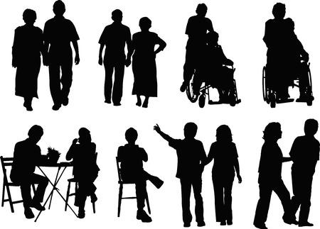 mujeres ancianas: Pareja de ancianos silueta Foto de archivo