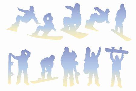 piste: Snowboard silhouette Stock Photo