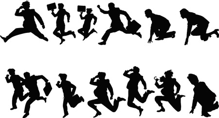 commuting: businessman silhouette running