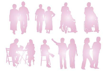 fostering: Elderly couple silhouette