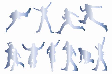 long live: Businessman jump silhouette