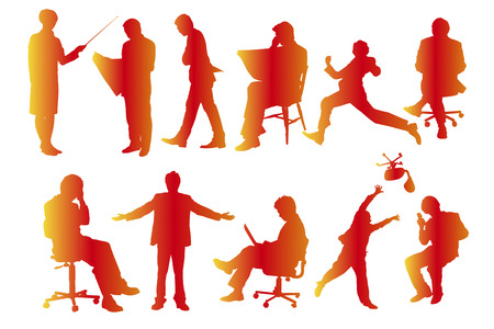 fellows: Business people silhouettes Stock Photo