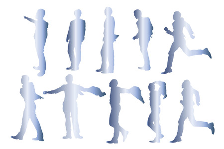 a fellow: Business people silhouettes Stock Photo