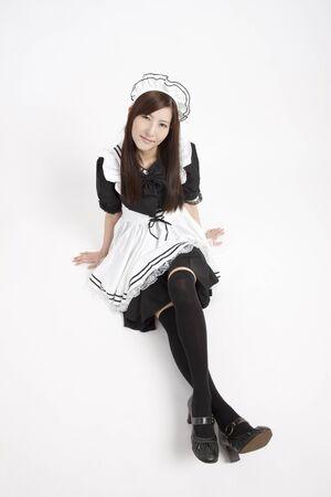 long hair boy: Maid cosplay