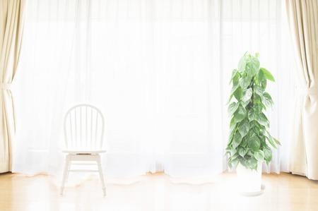 window treatments: The living room window treatments Stock Photo