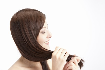 brown hair: Touch the straight hair female