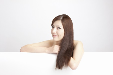 straight man: Straight hair female Stock Photo