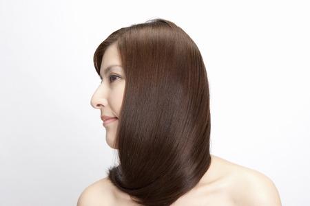 ストレートの髪の女性 写真素材