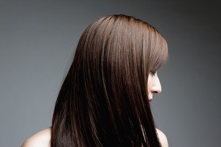 Mujer pelo recto Foto de archivo