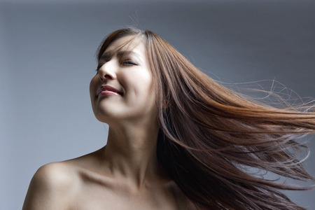 Straight hair female 写真素材