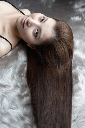 coherence: Straight hair female Stock Photo