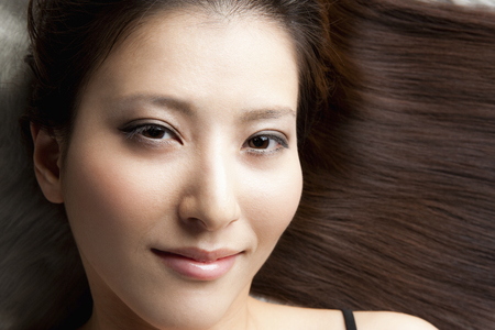 perm: Straight hair female Stock Photo
