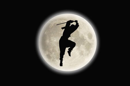ninjutsu: Ninja silhouette Stock Photo