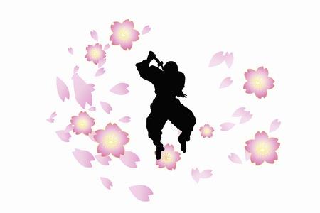 ninja method: Ninja silhouette Stock Photo