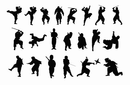 attire: Ninja silhouette Stock Photo