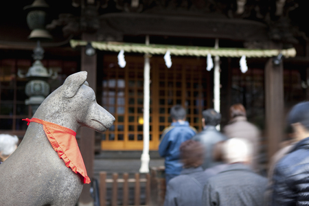 seven persons: Surrounded by three shrines Stock Photo