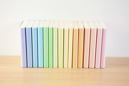 tidying up: Colourful books
