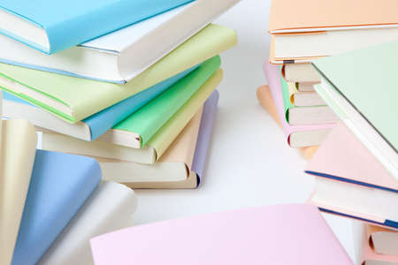 reading materials: Pile of books Stock Photo