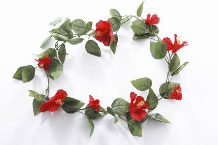 marcos redondos: Hibisco de flores artificiales