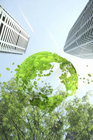green building: Globe of fresh green and the building and the leaves Stock Photo
