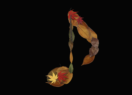 rythm: Character of dry leaves, black background