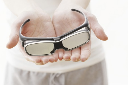 3 d: 3 D glasses and hands