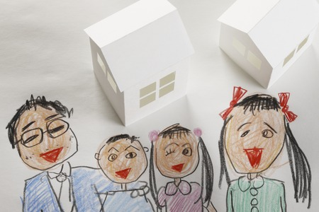 family moving house: Paper crafts home and family paintings
