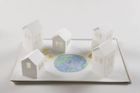 residency: Earth Moon and Sun picture and paper House Stock Photo