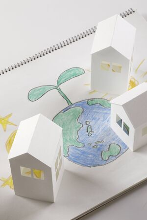 habitation: Earth Moon and Sun picture and paper House Stock Photo