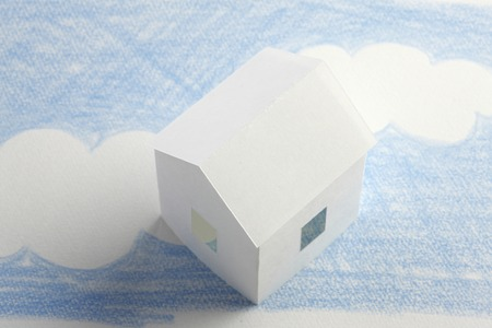 residency: Paper Craft House and illustrations of blue sky
