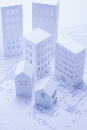 scaled down: Paper craft House and building Stock Photo