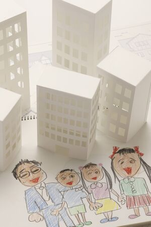 townscape: Paper crafts home and family paintings