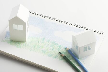 Lawn House paper craft and illustrations