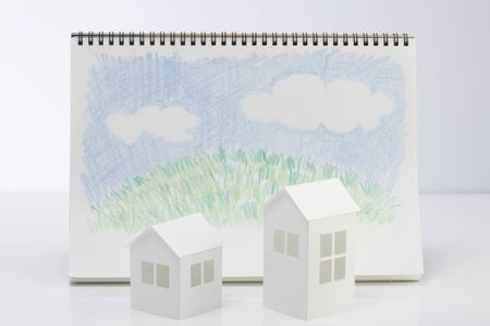 residency: Lawn House paper craft and building and illustrations