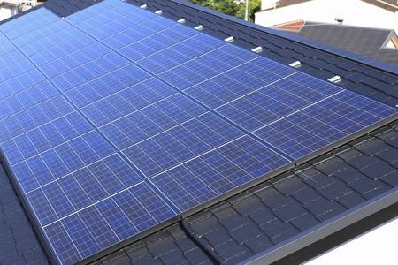 panel: Solar panel roof Stock Photo