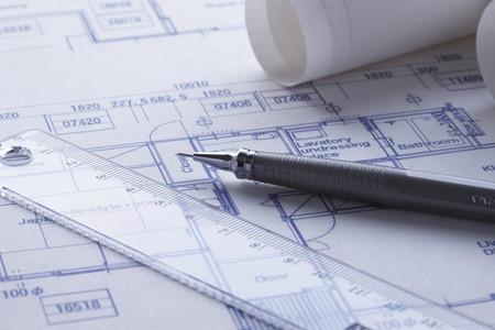 Blauwdruk en pen