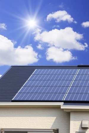 solar panel roof: Solar panel roof Stock Photo