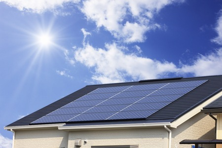 Solar panel roof Stock Photo
