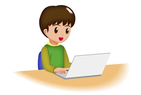 using laptop: Cartoon children using laptop  Stock Photo