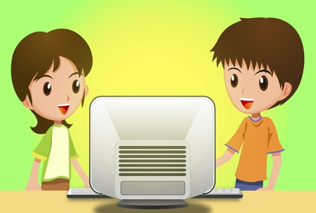 personal computer: Two children to a personal computer