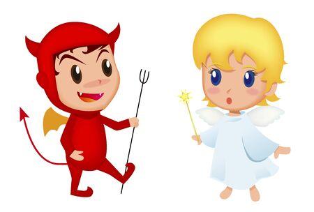 天使と悪魔 写真素材