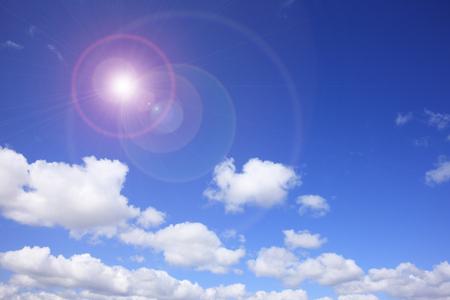 青い空とフレア 写真素材