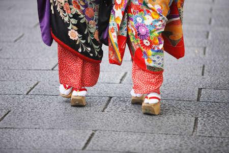 geisha kimono: Geisha in kimono and geta