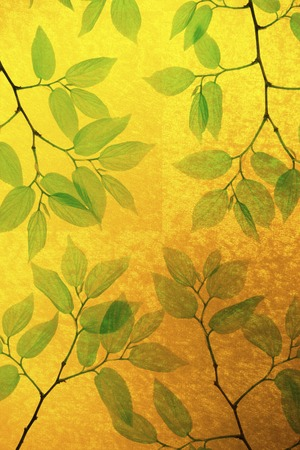 folding: Gold folding screen and a fresh green background